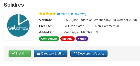 Solidres and Joomla 3.2 Install from web feature