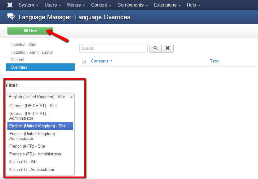 Language overrides for Solidres in Joomla