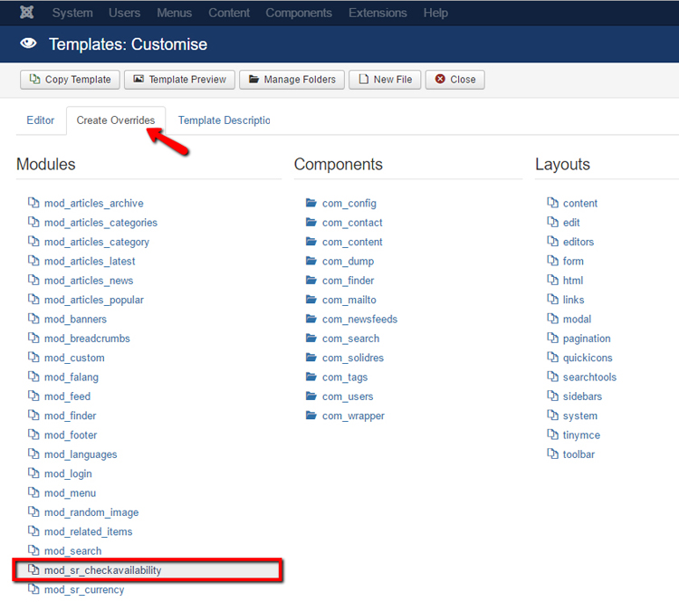 How to create Template Overrides using Joomla Template Manager