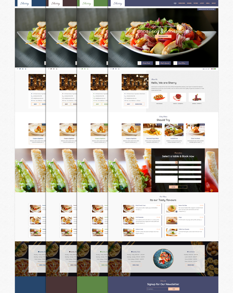 Sherry - Joomla template for Restaurant Management System
