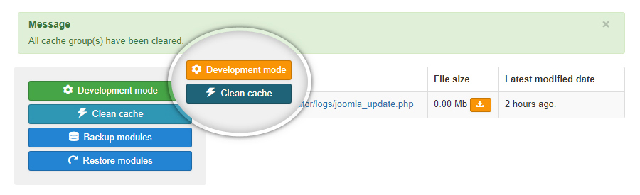 Development mode and Clean cache